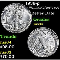 1939-p Better Date . Walking Liberty Half Dollar 50c Grades Choice Unc