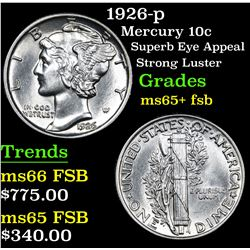 1926-p Superb Eye Appeal Strong Luster Mercury Dime 10c Grades GEM+ FSB
