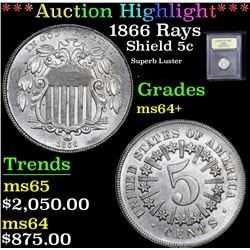 *Auction Highlight* 1866 Rays Superb Luster Shield Nickel 5c Graded Choice+ Unc By USCG (fc)