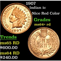 1907 Nice Red Color . Indian Cent 1c Grades Choice+ Unc RD