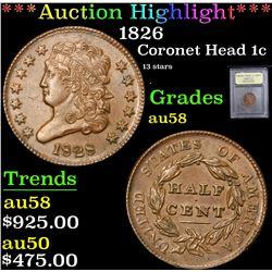 *Auction Highlight* 1826 13 stars Coronet Head Large Cent 1c Graded Choice AU/BU Slider By USCG (fc)