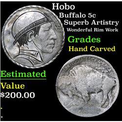 Hobo Superb Artistry Wonderful Rim Work Buffalo Nickel 5c Grades Hand Carved