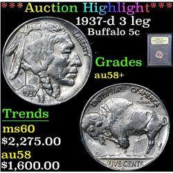 *Auction Highlight* 1937-d 3 leg . Buffalo Nickel 5c Graded Choice AU/BU Slider+ By USCG (fc)