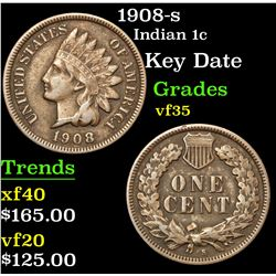 1908-s Key Date . Indian Cent 1c Grades vf++