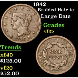 1842 Large Date . Braided Hair Large Cent 1c Grades vf+
