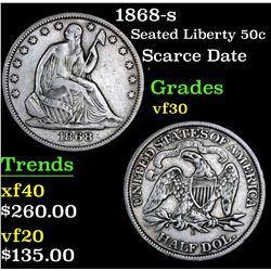 1868-s Scarce Date  . Seated Half Dollar 50c Grades vf++