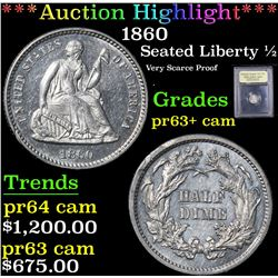 *Auction Highlight* 1860 Very Scarce Proof . Seated 1/2 10c Graded Select+ Proof Cameo By USCG (fc)