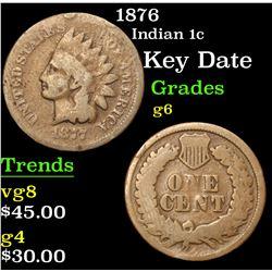 1876 Key Date . Indian Cent 1c Grades g+