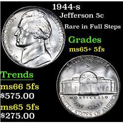 1944-s Rare in Full Steps . Jefferson Nickel 5c Grades GEM+ 5fs