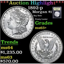 *Auction Highlight* 1892-p Key Date Frosty Luster Morgan Dollar $1 Graded Select+ Unc By USCG (fc)