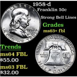 1958-d Strong Bell Lines . Franklin Half Dollar 50c Grades Select Unc+ FBL