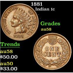 1881 . . Indian Cent 1c Grades Choice AU/BU Slider