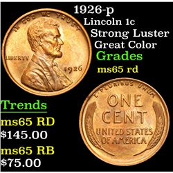 1926-p Strong Luster Great Color Lincoln Cent 1c Grades GEM Unc RD