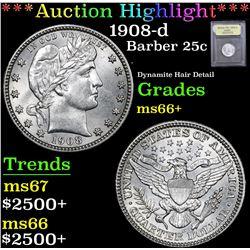 *Auction Highlight* 1908-d Dynamite Hair Detail Barber Quarter 25c Graded GEM++ Unc By USCG (fc)