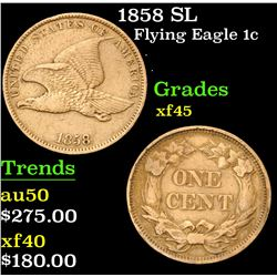 1858 SL . . Flying Eagle Cent 1c Grades xf+