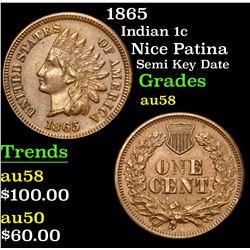 1865 Nice Patina Semi Key Date Indian Cent 1c Grades Choice AU/BU Slider