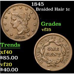 1845 . . Braided Hair Large Cent 1c Grades vf+