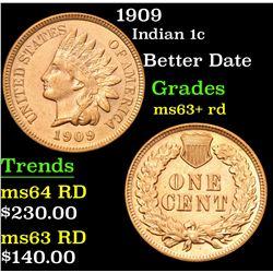 1909 Better Date . Indian Cent 1c Grades Select+ Unc RD
