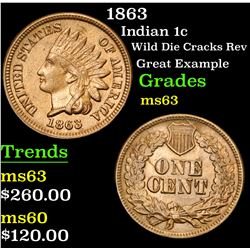 1863 Wild Die Cracks Rev Great Example Indian Cent 1c Grades Select Unc