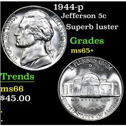 1944-p Superb luster . Jefferson Nickel 5c Grades GEM+ Unc