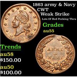 1863 army & Navy Weak Strike Lots Of Red Peeking Thru Civil War Token 1c Grades Choice AU