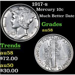 1917-s Much Better Date . Mercury Dime 10c Grades Choice AU/BU Slider