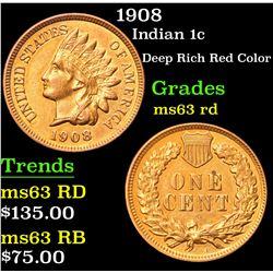 1908 Deep Rich Red Color . Indian Cent 1c Grades Select Unc RD