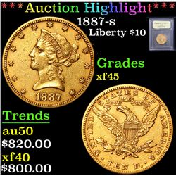 ***Auction Highlight*** 1887-s . . Gold Liberty Eagle $10 Graded xf+ By USCG (fc)