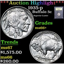 ***Auction Highlight*** 1935-p Superior Luster . Buffalo Nickel 5c Graded GEM++ Unc By USCG (fc)