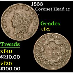 1833 . . Coronet Head Large Cent 1c Grades vf+