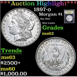 ***Auction Highlight*** 1897-o Key Date Nice Luster Morgan Dollar $1 Graded Select Unc By USCG (fc)