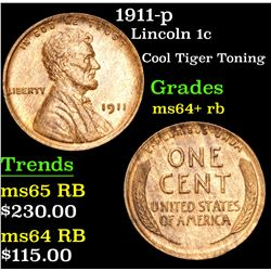 1911-p Cool Tiger Toning . Lincoln Cent 1c Grades Choice+ Unc RB