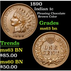 1890 Pleasing Chocolate Brown Color . Indian Cent 1c Grades Select Unc BN