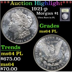 ***Auction Highlight*** 1921-p Ultra Rare in PL . Morgan Dollar $1 Graded Choice Unc PL By USCG (fc)