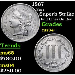 1867 Superb Strike Full Lines On Rev Three Cent Copper Nickel 3cn Grades Choice+ Unc