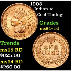 1903 Cool Toning . Indian Cent 1c Grades Choice+ Unc RD