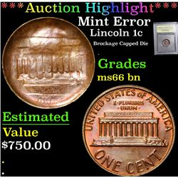 *Auction Highlight* Mint Error Brockage Capped Die Lincoln Cent 1c Graded GEM+ Unc BN By USCG (fc)