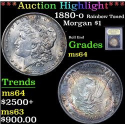*Auction Highlight* 1880-o Rainbow Toned Roll End Morgan $1 Graded Choice Unc By USCG (fc)