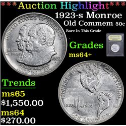 *Auction Highlight* 1923-s Monroe Rare In This Grade . Old Commem 50c Graded Choice+ Unc By USCG (fc