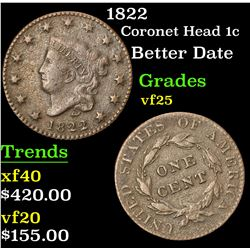 1822 Better Date . Coronet Head Large Cent 1c Grades vf+