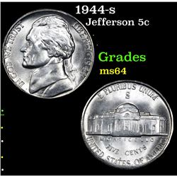 1944-s . . Jefferson Nickel 5c Grades Choice Unc