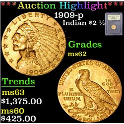 ***Auction Highlight*** 1909-p . . Gold Indian Quarter Eagle $2 1/2 Graded Select Unc By USCG (fc)