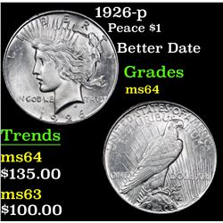 1926-p Better Date . Peace Dollar $1 Grades Choice Unc