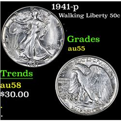 1941-p . . Walking Liberty Half Dollar 50c Grades Choice AU