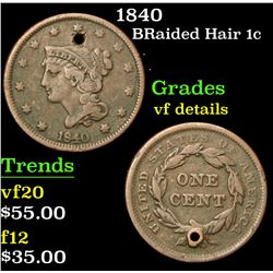 1840 . . Braided Hair Large Cent 1c Grades vf details