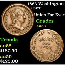 1863 Washington Union For Ever . Civil War Token 1c Grades Select AU