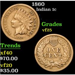 1860 . . Indian Cent 1c Grades vf+