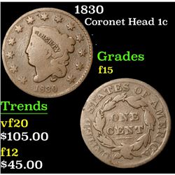 1830 . . Coronet Head Large Cent 1c Grades f+
