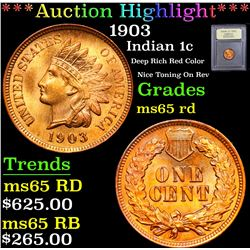 ***Auction Highlight*** 1903 Deep Rich Red Color Nice Toning On Rev Indian Cent 1c Graded GEM Unc RD