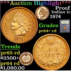 1874 . . Indian Cent 1c Grades Choice+ Proof RD